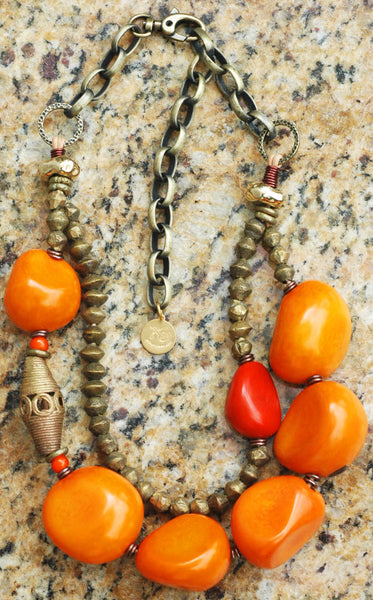 Bold Organic Orange Tagua Nut and African Brass Choker Necklace
