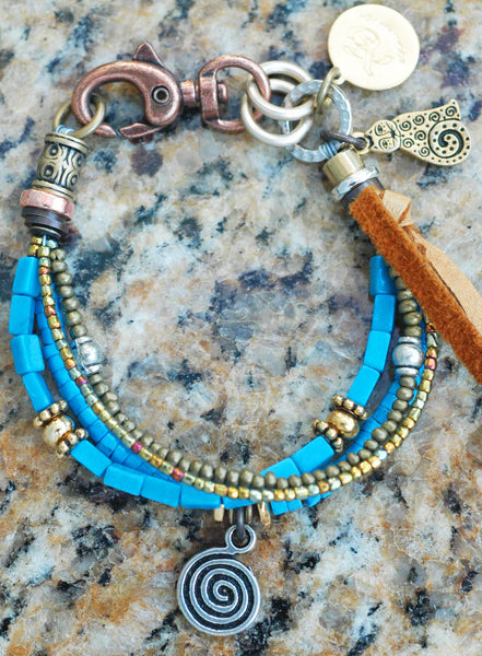 Turquoise, Gold and Silver Spiral Mixed Media Frienddhip Bracelet