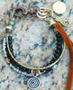 Black, Silver and Leather Spiral Mixed-Media Friendship Bracelet