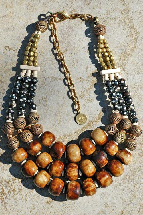 african inspired batik brown bone brass and ivory statement necklace