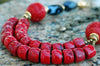 Asian-Inspired Red Coral, Cinnabar and Black Agate Statement Necklace