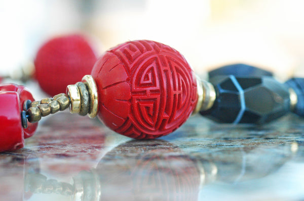 stunning Chinese carved red cinnabar ball bead