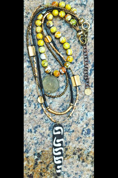 African Inspired Black, Gold & Yellow Layered Tribal Pendant Necklace