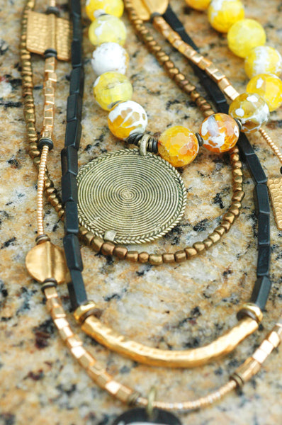 African Inspired Black, Gold and Yellow Tribal Pendant Necklace