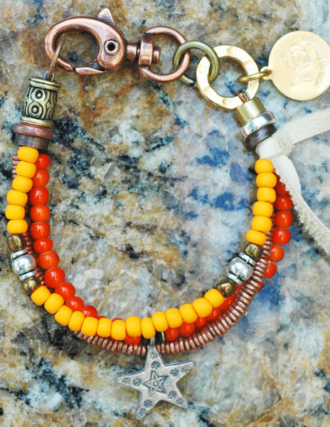 Orange, Copper and Silver Star Friendship Charm Bracelet