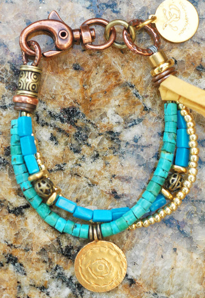 Turquoise and Gold Charm Friendship Bracelet