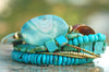 Beautiful Turquoise, Blue Agate, Glass & Gold Statement Charm Bracelet