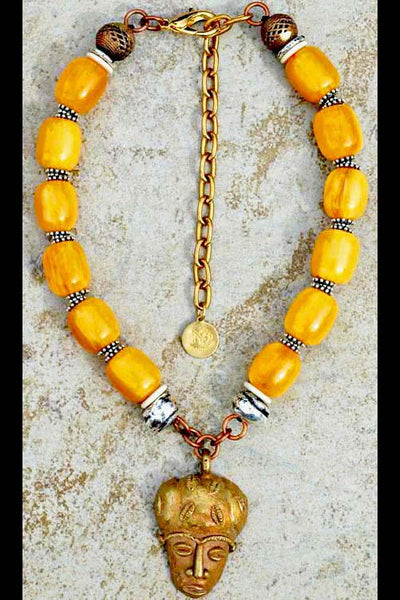 African Yellow Amber Resin, Silver and African Brass Mask Necklace