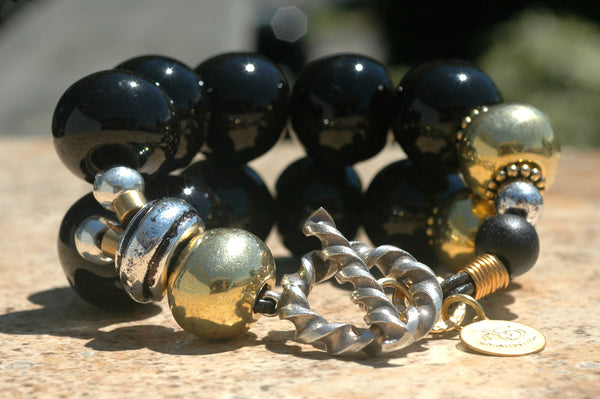 Bold and Classic Versatile Statement Gold & Black Bracelet