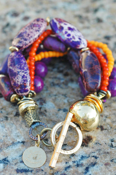 Vivid Purple Jasper, Orange and Gold Multi-Strand Statement Bracelet