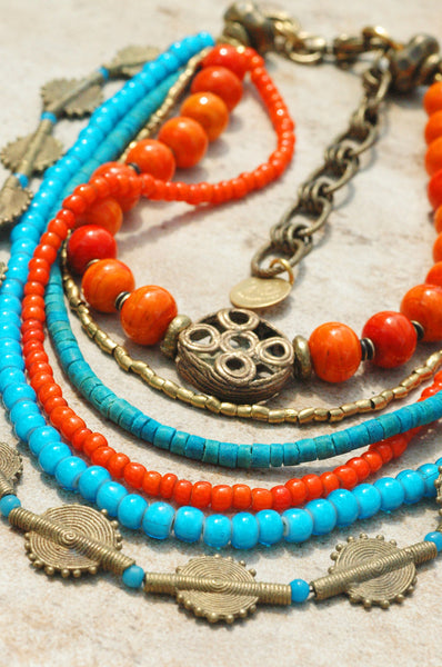 Exotic Turquoise, Orange and African Brass Tribal Statement Necklace
