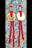 Gold Disc and Red Leather Bohemian Statement Fringe Earrings