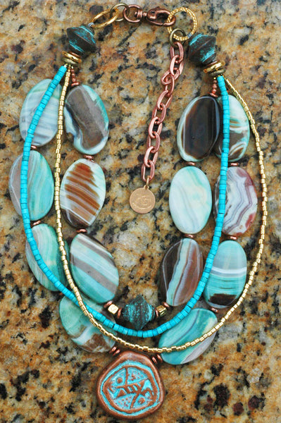 Blue Agate, Turquoise, Copper and Gold Pendant Necklace