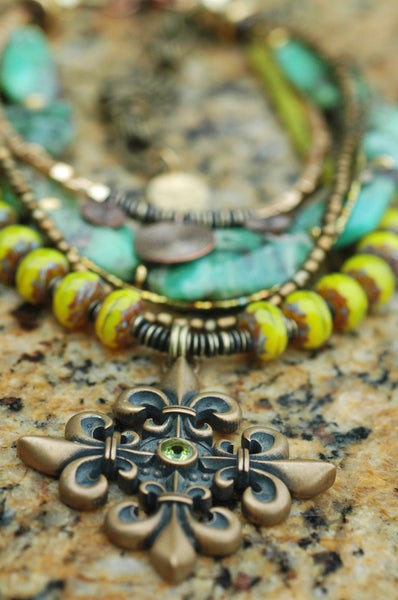 Green Amazonite, Chartreuse Glass & Bronze Fleur de Lis Pendant Necklace