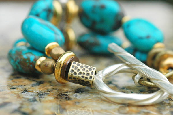 Essential Bold & Chunky Gold, Silver Statement Turquoise Bracelet