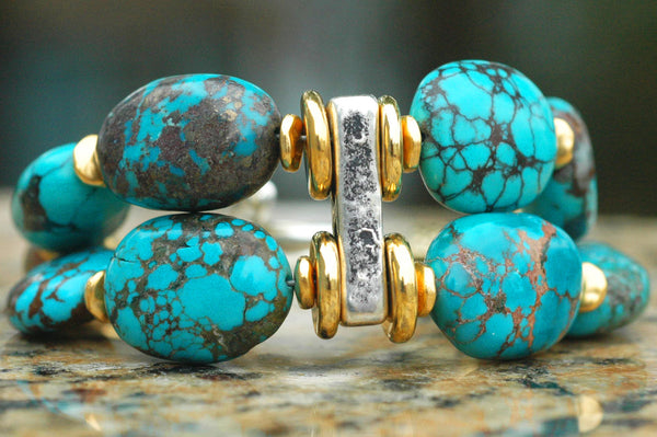 Essential Bold and Chunky Turquoise, Gold & Silver Statement Bracelet
