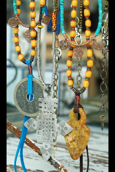 exotic ethnic long and layered bohemian pendant necklaces