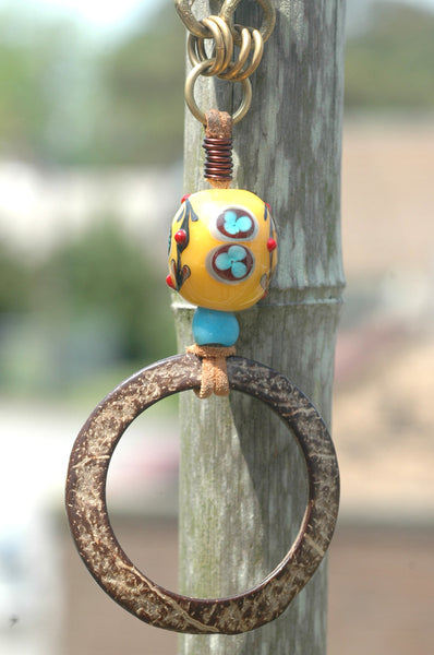 Long Magnolia Wood, Exotic Glass Bead and Coconut Hoop Long Necklace
