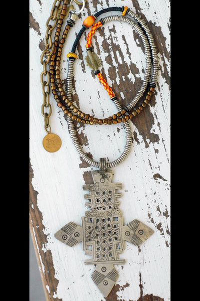 Exotic and Ethnic Long Bohemian Ethiopian Coptic Cross Pendant Necklace