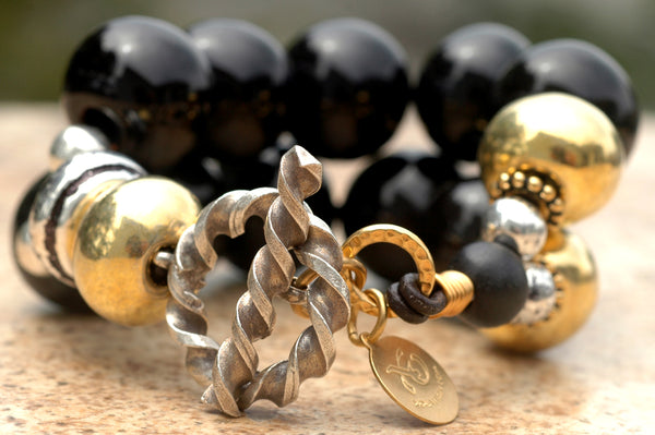 Bold and Classic Black, Silver and Gold Terra Cotta Statement Bracelet