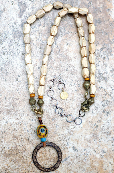 Magnolia Wood, Exotic Glass Bead and Coconut Hoop Long Necklace