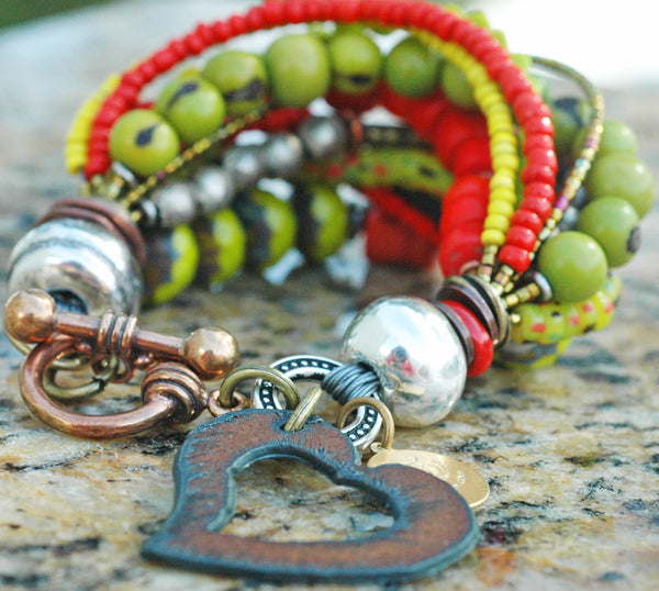 Exotic Red, Chartreuse, Yellow, Silver and Iron Heart Artisan Charm Bracelet