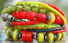 Exotic Red, Chartreuse, Silver and Iron Heart Artisan Charm Bracelet