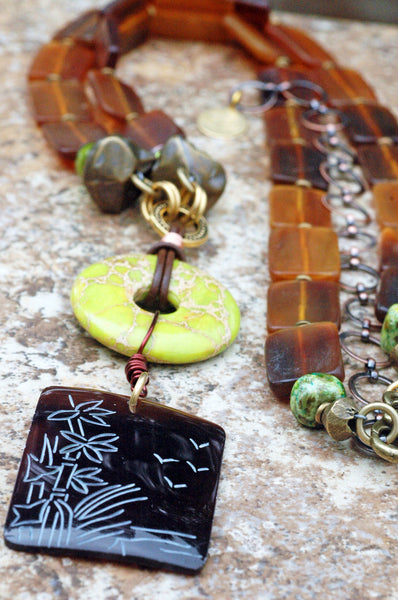 Long Island-Infused Amber Horn, Jade and Etched Shell Pendant Necklace