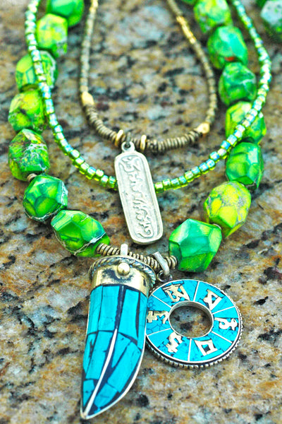 Long Green and Lime Jasper, Brass and Mosaic Turquoise Horn Necklace