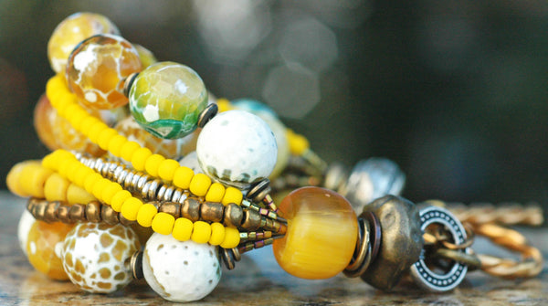 Faceted Yellow Agate, Bronze and Silver Victorian Inspired Bracelet