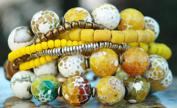 Faceted Yellow Agate, Bronze, Gold and Silver Multi-Strand Bracelet