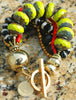 Green Red Black and Gold Bracelet