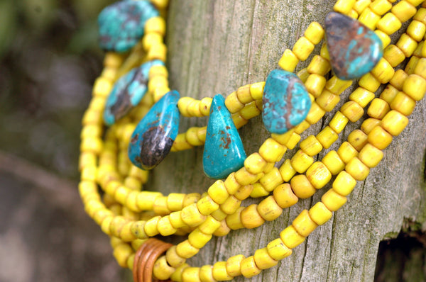 Vintage Yellow Glass and Turquoise Multi-Strand Horn Pendant Necklace