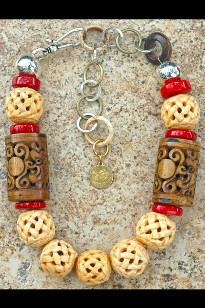 Asian-Inspired Carved Bone and Red Coral Choker Statement Necklace