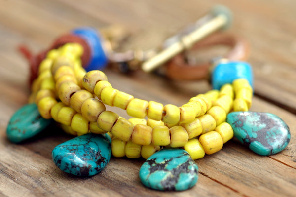 Vintage Yellow Glass and Turquoise Fringe Bohemian Fish Charm Bracelet