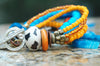 Exotic Orange Glass, African Bone & Blue Agate Tribal Fringe Bracelet
