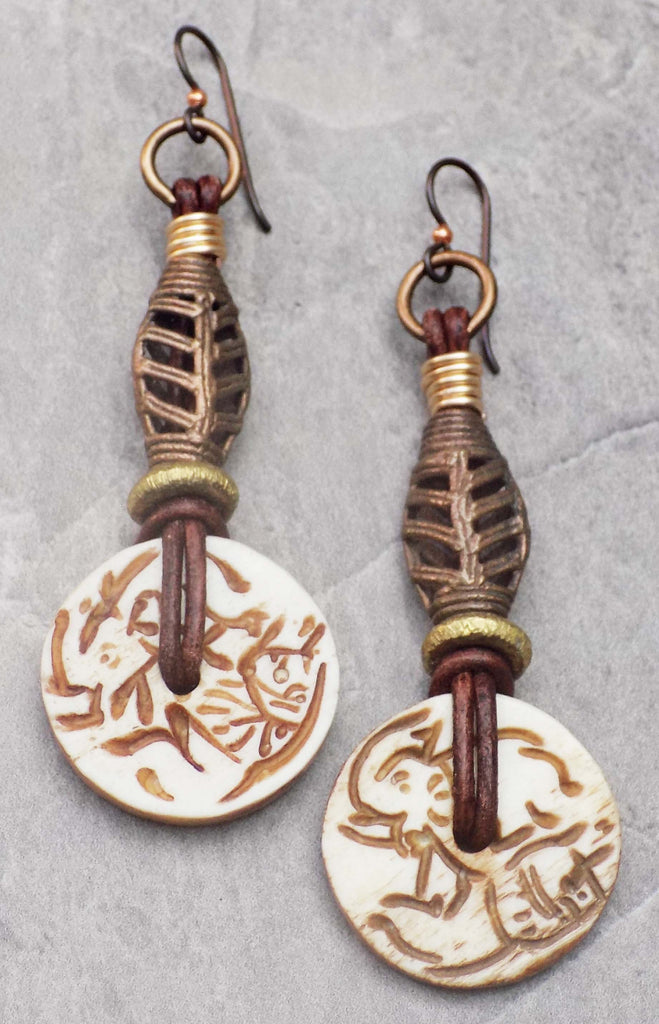 Exotic Carved Bone Elephant Disc Leather And African Brass Earrings