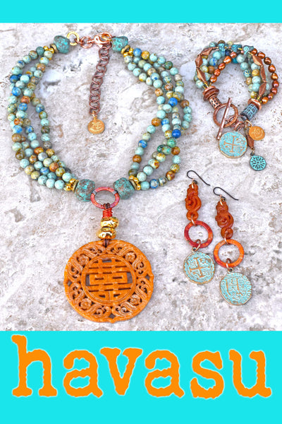 Unique Blue Brown Jasper, Copper and Carved Jade Havasu Jewelry Collection