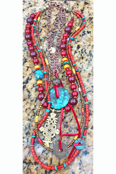Bohemian Ethnic Layered Red, Turquoise, Yellow Coptic Cross Necklace
