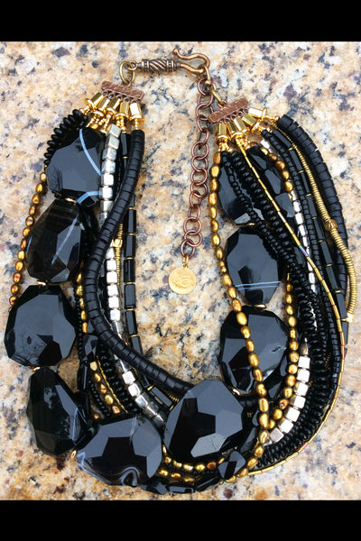 Elegant Black Agate Slab, Gold and Silver Statement Choker Necklace