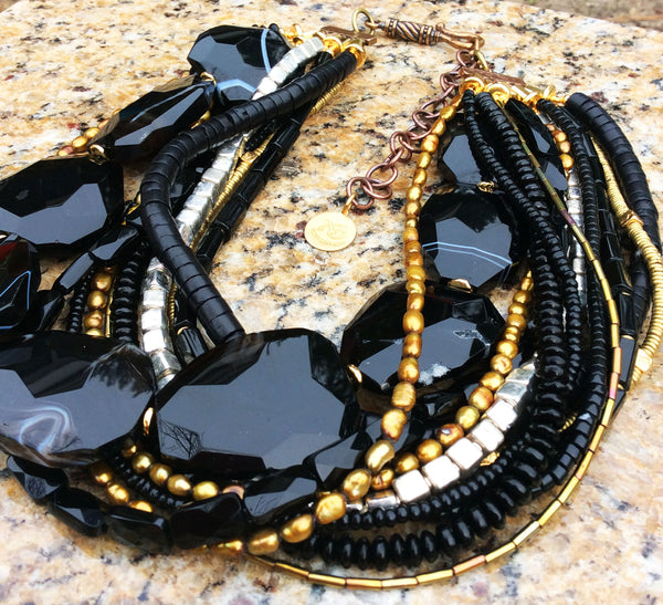 Elegant Black Agate, Gold and Silver Necklace
