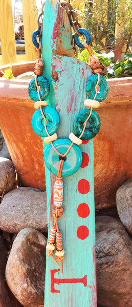 Designer Turquoise Donut and Leather Tassel Resort Necklace