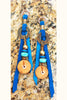 Blue, Terra Cotta, Leather and Brass Coin Dangle Bohemian Earrings