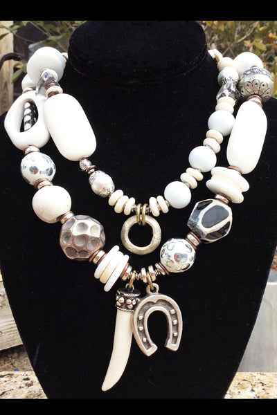 Commissioned Bold Funky Eclectic White and Silver Statement Horn Necklace