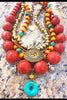 Tibetan Inspired Coral, Amber Resin, Turquoise & Brass Shield Necklace