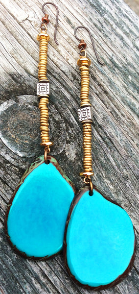 Bold Turquoise Tagua Slice Statement Long Earrings