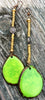 Bold Lime Green Tagua Slice Statement Long Earrings
