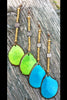 Bold Lime Green, Turquoise, Orange, Pink, Red, Cobalt Tagua Slice Long Earrings