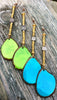 Bold Lime Green or Turquoise Tagua Slice Statement Long Earrings