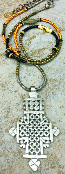 Long Tribal Boho Mixed Media Ethiopian Coptic Cross Pendant Necklace